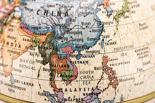 East and Southeast Asia world map.